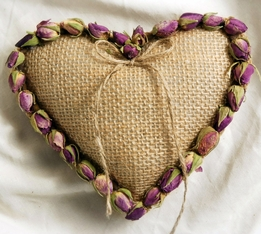 Rosebud Heart Ring Pillow Natural Burlap