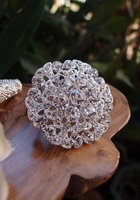 "Round Crystal Diamond Pin 2.5"" wide"