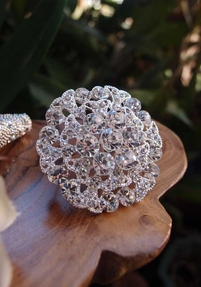 "Round Rhinestone Pin 2.5"", Bouquet Jewelry"