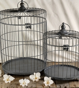 "Round French Flower Market Bird Cages Grey (set of two) 19"" & 13"" set"