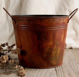"Rust Stained 6.5"" Bucket with handles"