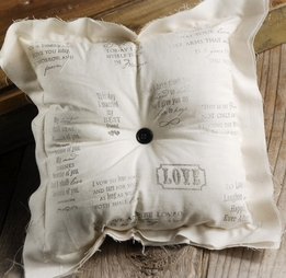Rustic Chic Cotton 8x8 Ring Pillow Wedding Supplies