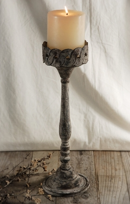 Rustic Metal Pillar 16-1/2 in. Pillar Candle Holder
