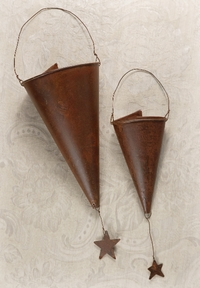 "Rusty Tin Cones (9.5"" & 6.5"")"