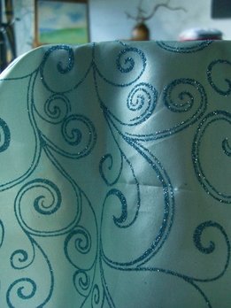 Satin Glitter Swirl Table Runner Light Blue & Aqua Swirl