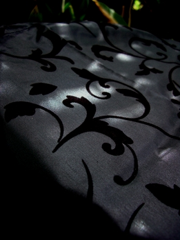 "Satin & Velvet Damask Table Runner Fabric Black 15"" x 72"""