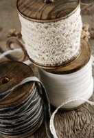 Set of Three Wood Ribbon Spools 60 feet of ribbon on each