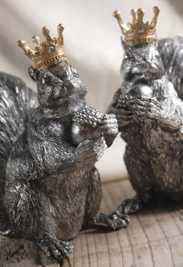 "Set of Two 6"" Crowned Squirrels"