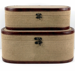 "Set of Two Cote d�Azur Burlap Cases (15.5"" & 14"")"