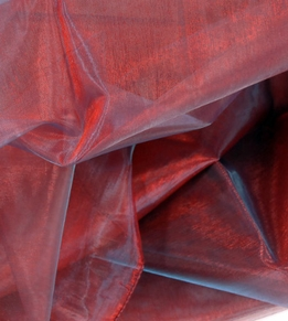 "Sheer Fabric: Iridescence Burgundy Red & Light Blue 28"" wide x 3 yards"