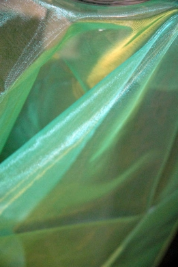 "Sheer Iridescence Organza Fabric Teal Green & Gold 28""width 3 yards"