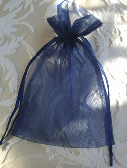 Sheer Organza Drawstring Bags 4 X 6 Navy Blue (10 bags)