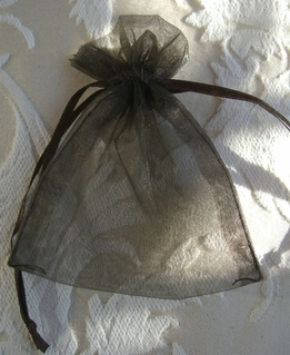 Sheer Organza Drawstring Bags Brown 3x4 Sheer (10 bags / pkg)