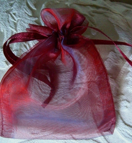 Sheer Organza Drawstring Bags Burgundy Red & Navy Two Tone 4 X 5.5 (24 bags) 24 pack