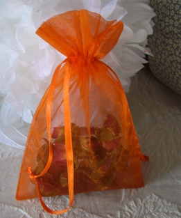 Sheer Organza Drawstring Bags Orange 4x6 (10 bags/pkg)
