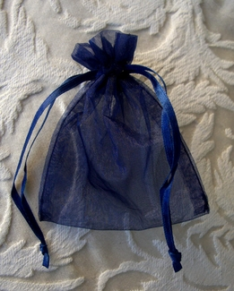 Sheer Organza Drawstring Navy Blue 3x4 (10 bags/pkg)