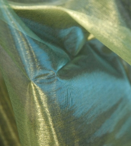 "Sheer Organza Fabric Hemmed Edges Iridescence Yellow, Green & Blue ( 28"" width 3 yards)"