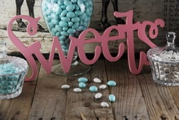 "Sign SWEETS Curly Pink 17.75"" Wood"