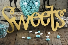 """Sweets"" Sign Yellow"