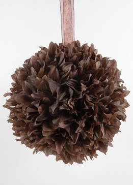 "Silk Flower Ball 8"" Cocoa Brown with ribbon hanger"