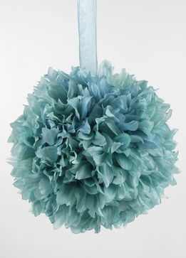 "Silk Flower Ball 8"" Turquoise Tiffany Blue with ribbon hanger"