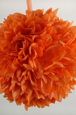 "Silk Flower Balls 12"" Orange with ribbon hanger"