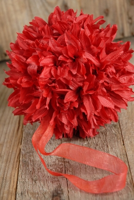 "Silk Flower Balls 6"" Red with ribbon hanger"