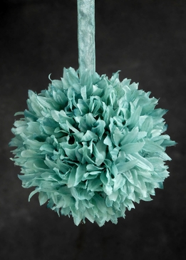 "Silk Flower Balls Tiffany Blue 6"" Size"