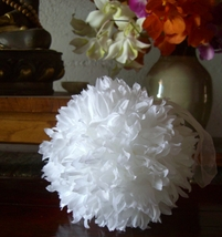"Silk Flower Balls White 6"" with ribbon hangers"