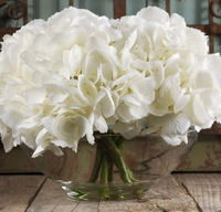 Silk Hydrangeas in Glass Vase with Faux Water White Flowers