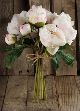 Silk Peony Bouquets Cream and Cerise