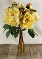Silk Peony Bouquets Yellow Flowers