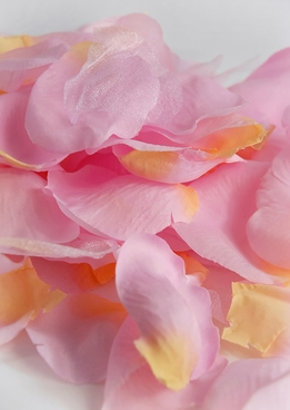 Silk Rose Petals Pink with Yellow Tips (100 petals/pkg )
