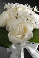White Roses Stephanotis Bouquet with Crystal Accents