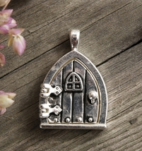 Silver Charms 1 in. Fairy Door with Window (opens) Locket