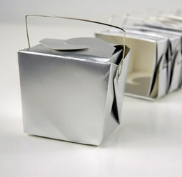 Silver Metallic 8oz Chinese Food Take Out Boxes