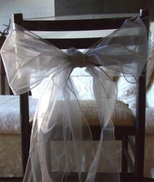 Silver Organza Chair Bows (Pack of 10)