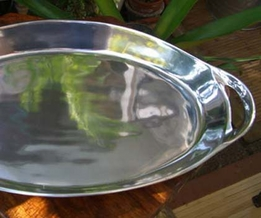 "Silver Plated Large 21"" Heavy Serving Platter with Handles"