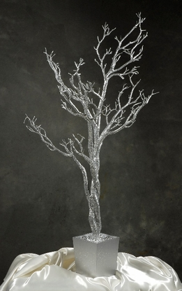 Silver Tree Artificial 4 Feet w/ Silver Wood Pot