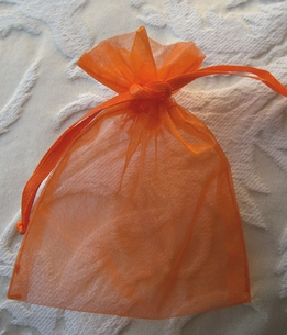 Small Orange Organza 3x4 Sheer Favor Bags ( pkg =10 bags)