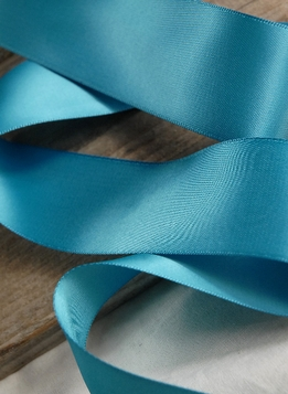 "Soft Teal Blue Satin Ribbon (Double Faced) 1.5"" width 50 yards"