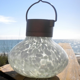 "Solar Lanterns 5"" Glass Warm White LED"