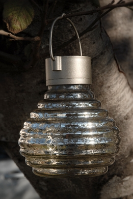 "Solar Lanterns 5"" Mercury Glass Tea Lantern- Silver Honey Pot"