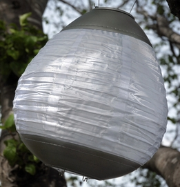 "Solar Lanterns Soji Kenzo 12"" Silver & White with Amber LED"