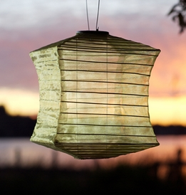 Solar Lanterns Soji Silk Effects Square Moss LED Hanging Lanterns