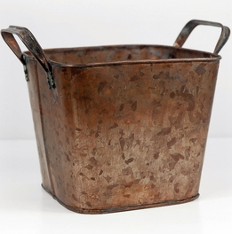 Square Copper 5x5 Planter with handles & liner