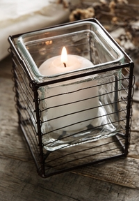Square Glass and Metal Votive Candle Holders