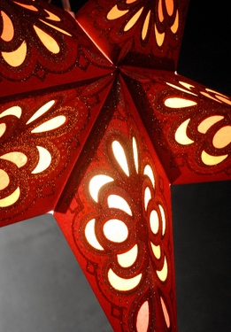 Star Lantern Red & Gold 24in