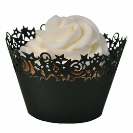 Stars Cupcake Wrappers Black