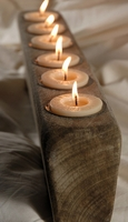 "Sugar Molds 21"" Spanish Oak 6 Candle w/ Candles & Metal Inserts"